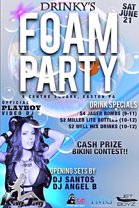 Official Flyer for DRINKYS FOAM PARTY hosted by F.A.T. Entertainment