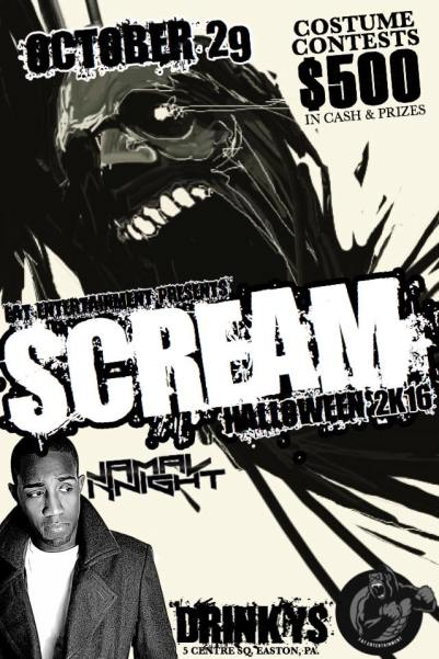 scream2k16 drinkys halloween fat entertainment jamal knight