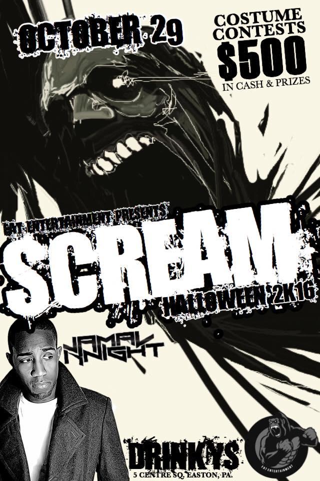 scream2k16 drinkys halloween fat entertainment jamal knight
